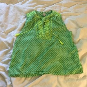 Lime/hot yellow embroidered sleeveless top